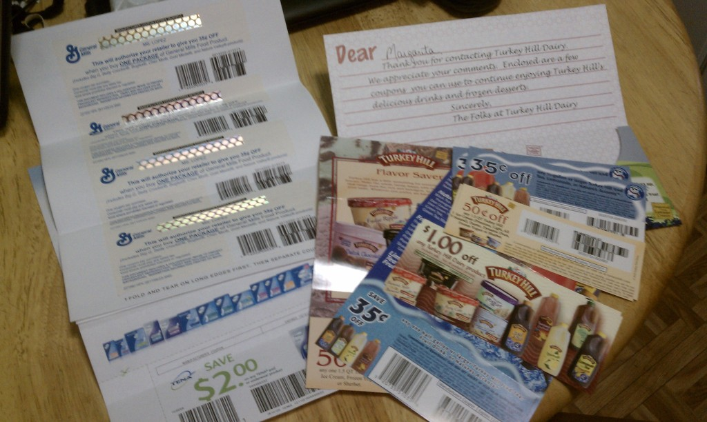 Writing letters to companies for coupons